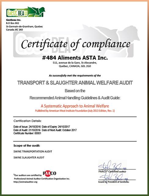Certificate of comp;liance Animal Welfare - Aliments Asta Inc.