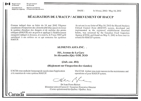 Certificat HACCP - Aliments Asta Inc.