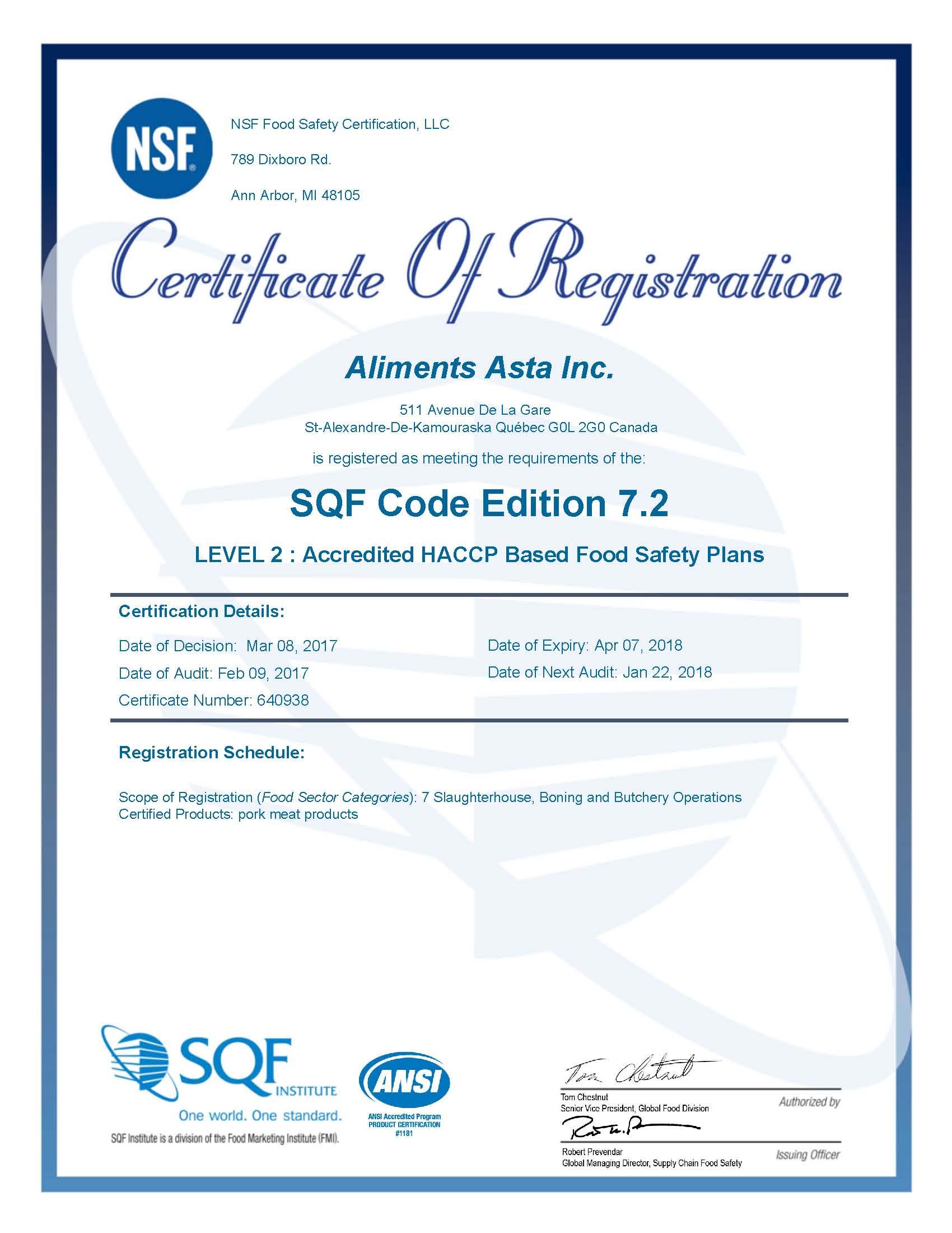 SQF Certificate - Aliments Asta 2017