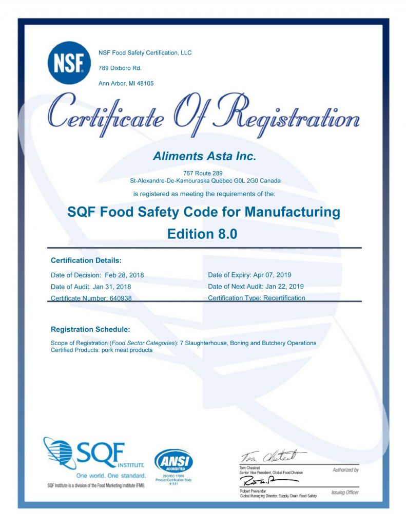 Certification SQF