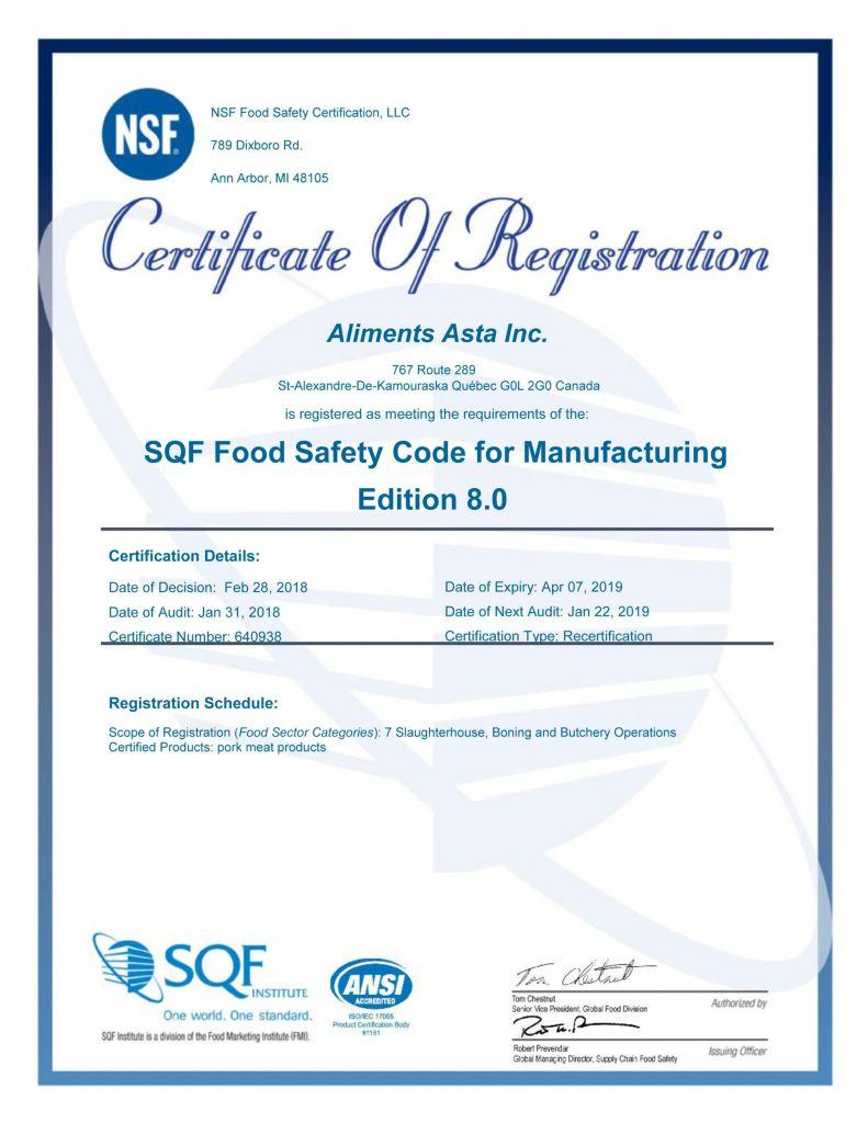 Certificat SQF