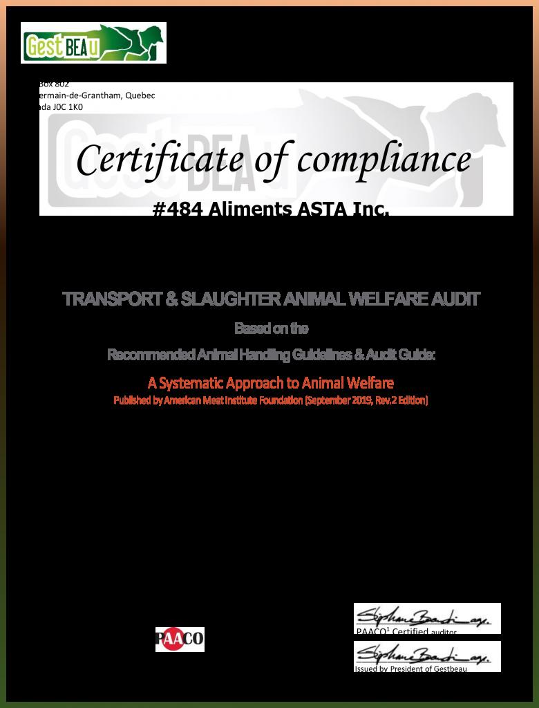Certificate of compliance_Animal Welfare_ASTA_484_00005