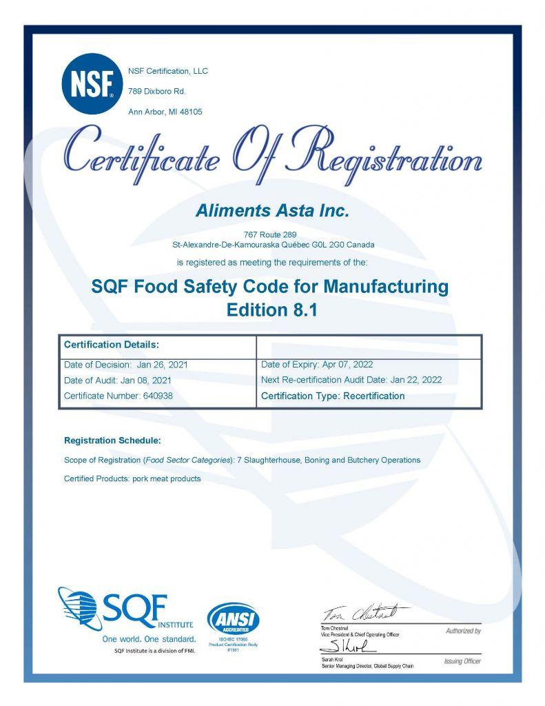 SQF Certificate_Aliments Asta Inc. _2021